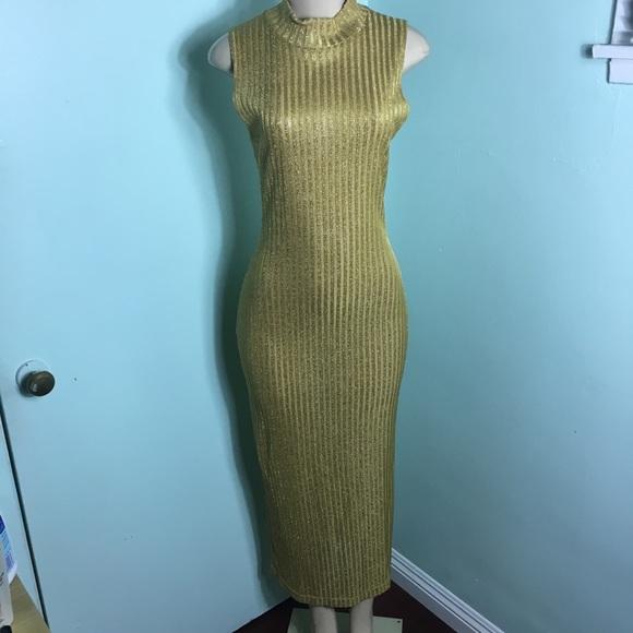 VINTAGE 90s Metallic Gold Knit Lurex Goddess Dress a445b6983